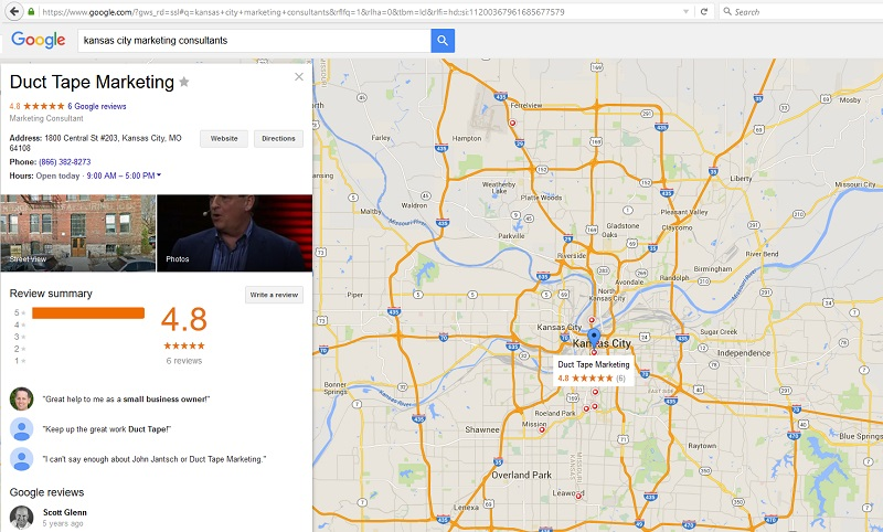 Duct Tape Marketing On Google Maps - Kansas City SEO